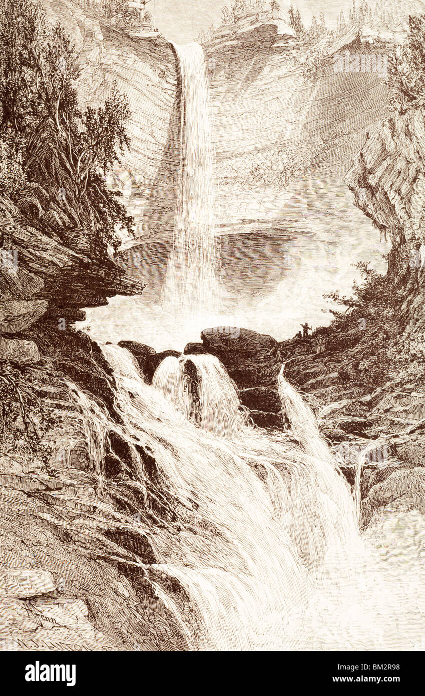 Catskill Falls by unknown artist,  etching - Stock Image