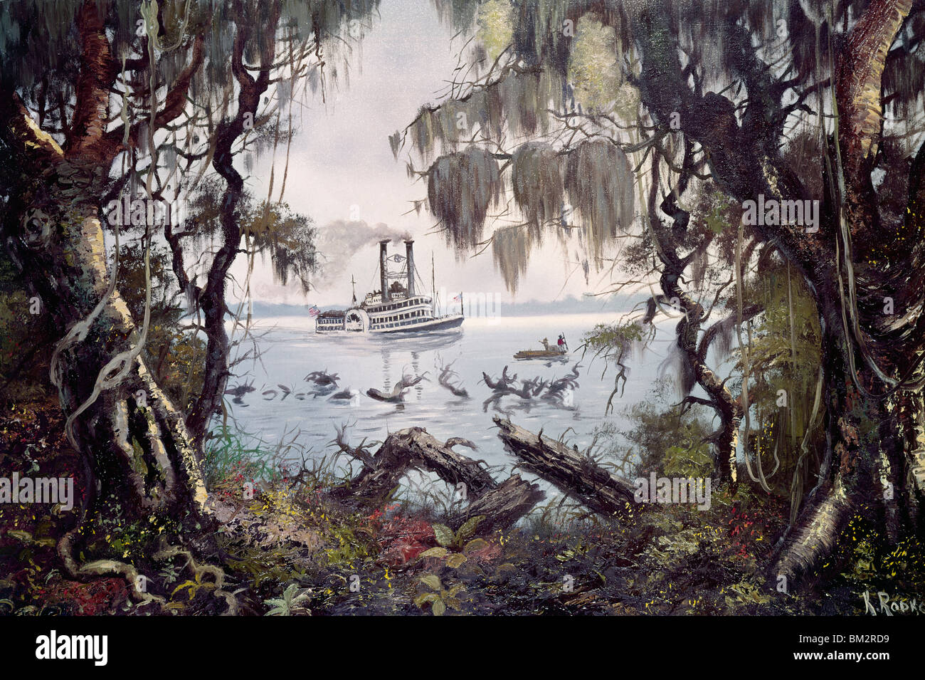 Mississippi, Scene with River-Craft by Konstantin Rodko, (1908-1995) - Stock Image