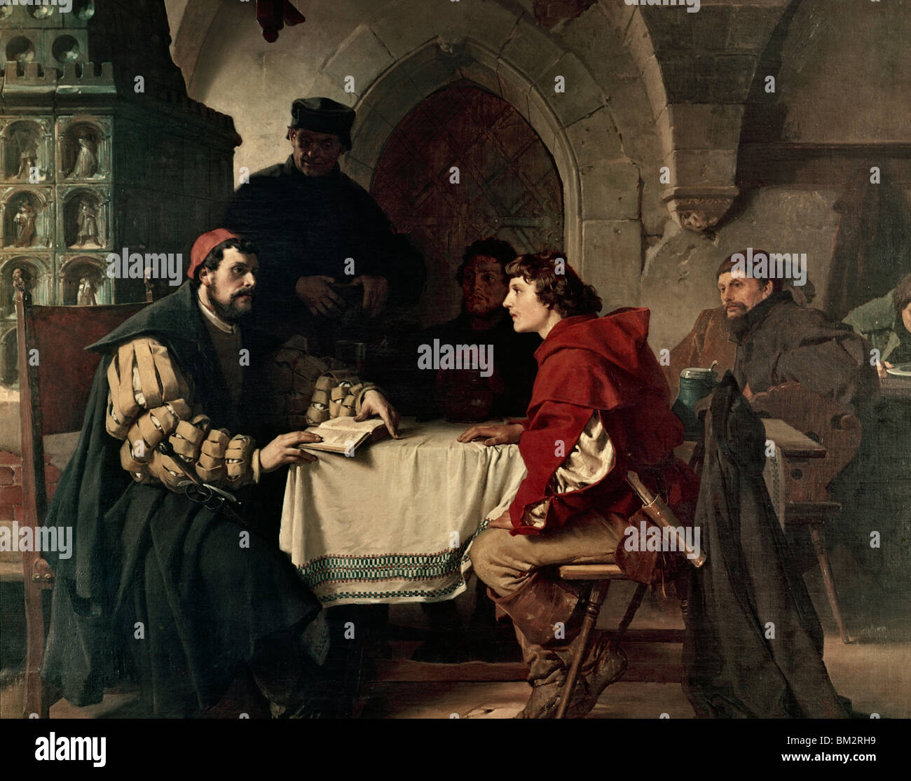 Luther as Junker Jorg in the Jena Inn with Students by Freidrich Paul Thumann, (1834-1903) - Stock Image