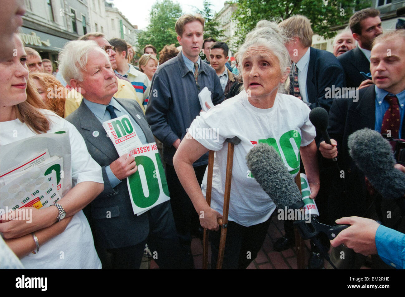 JUST SAY NO campaigners leafleting in Cardiff for their 1997 Referendum NO campaign against a National Assembly - Stock Image