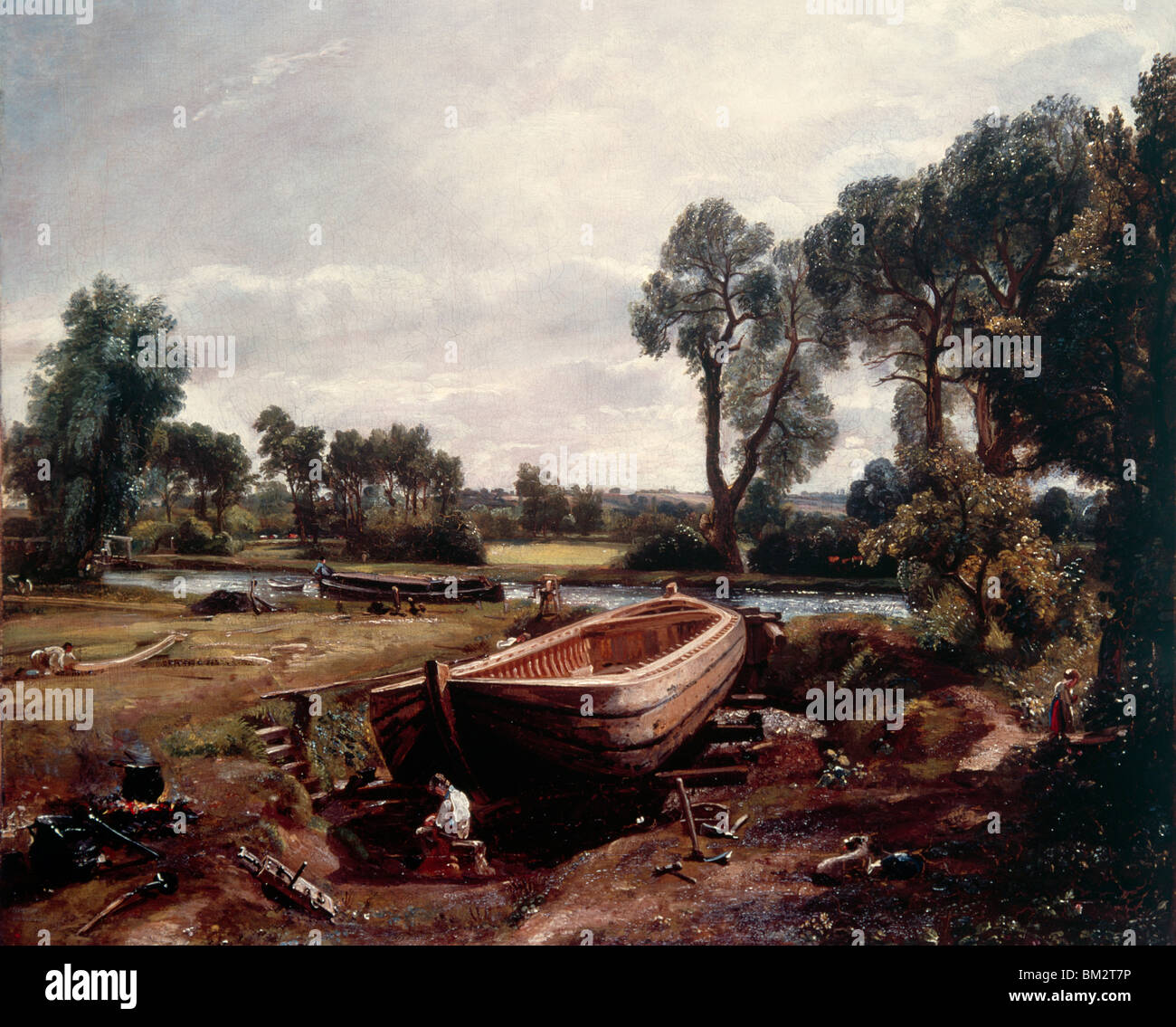 Boat Building near Flatford Mill by John Constable oil on canvas 1814 (1776-1837) UK England London Victoria & Albert Stock Photo