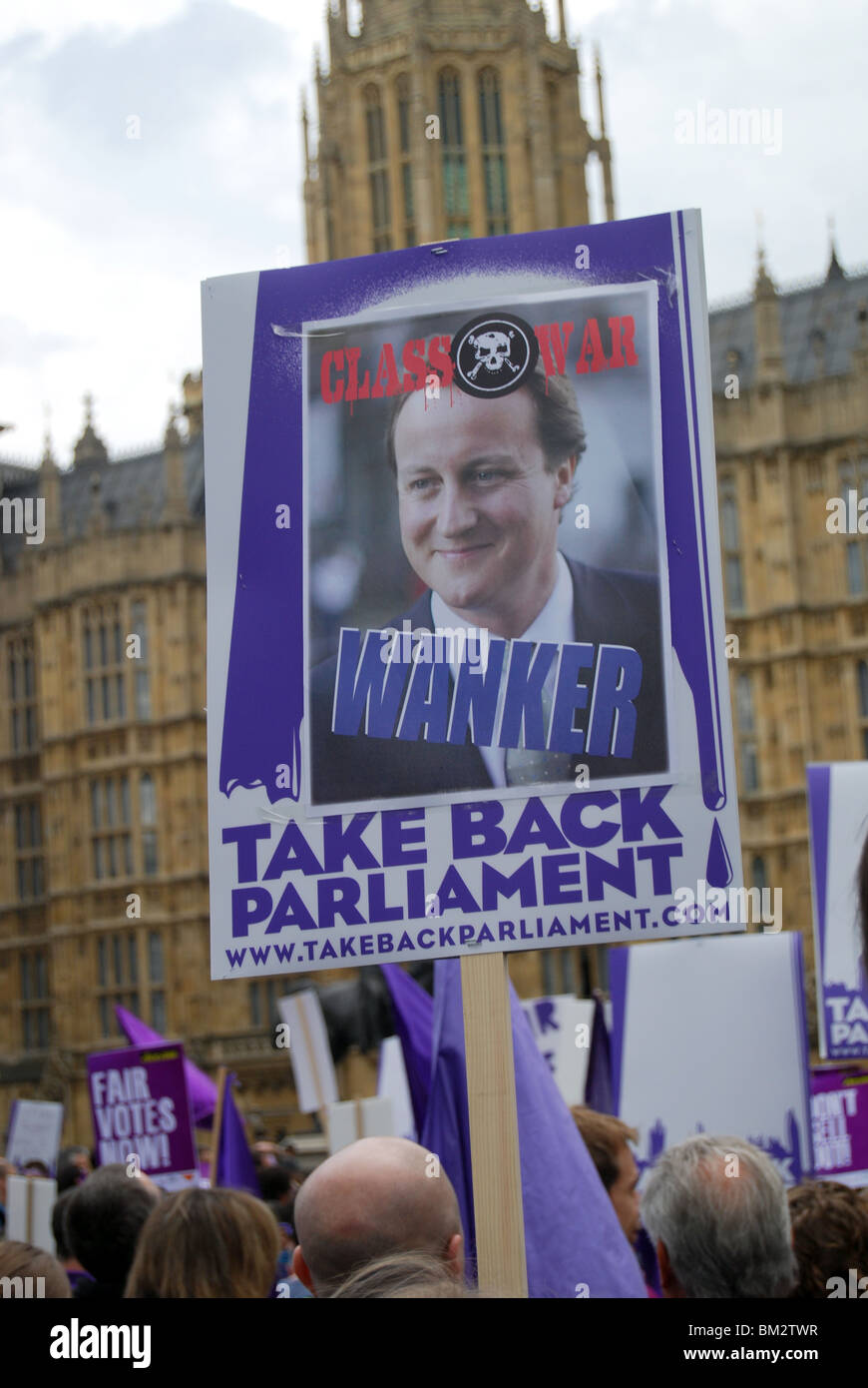 David Cameron Class War poster Take Back Parliament Protest Westminster 2010 - Stock Image