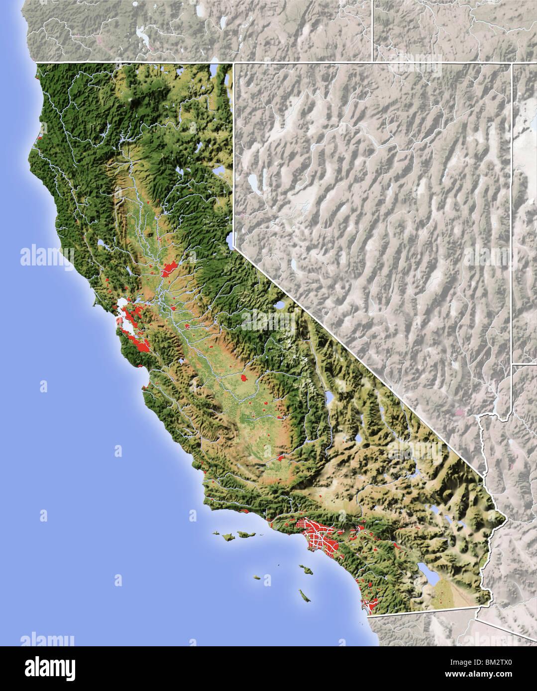 Physical Map Of California Stock Photos & Physical Map Of California ...