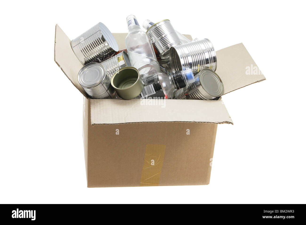Box of Rubbish for Recycling - Stock Image