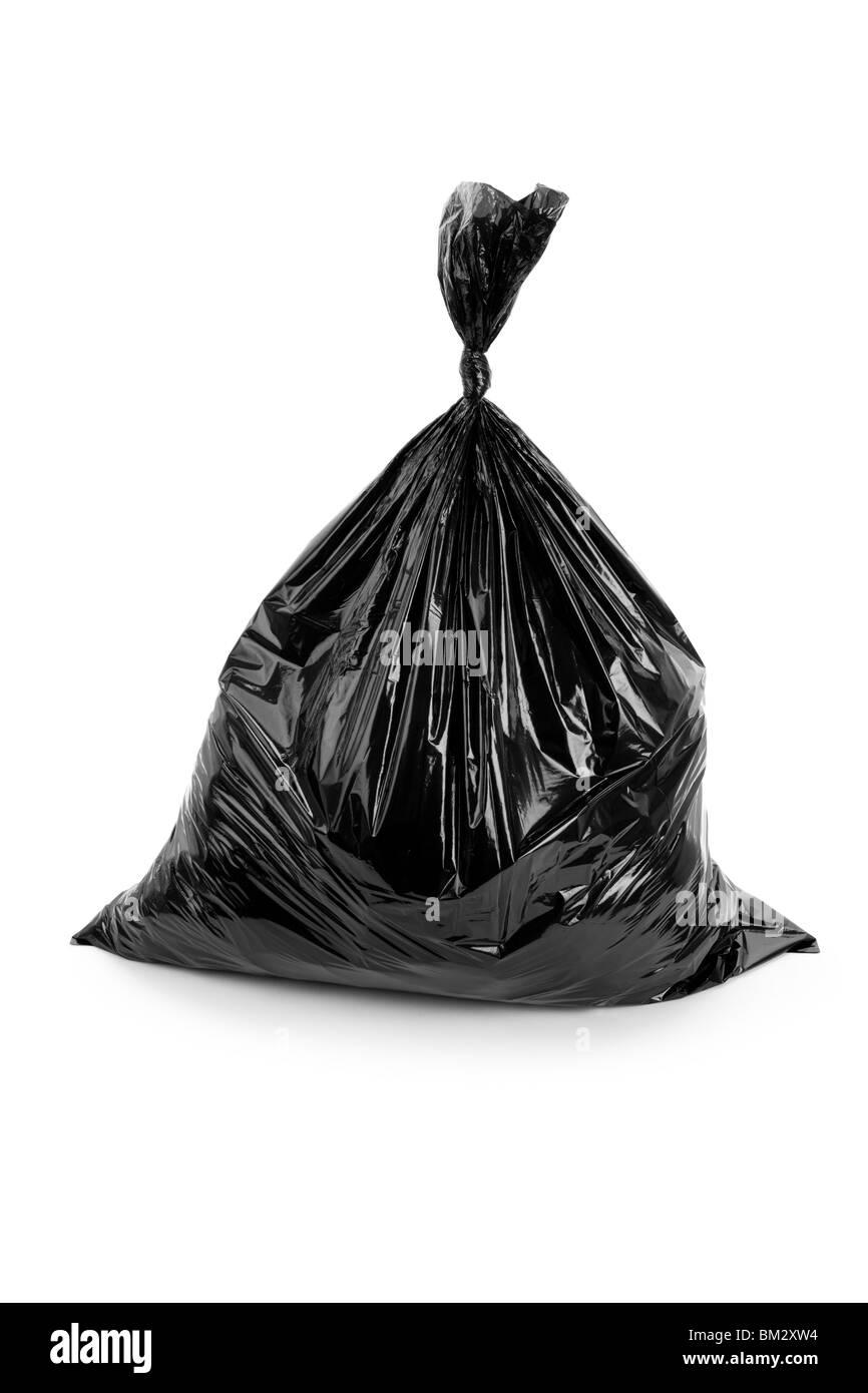 Black Garbage Bag close up - Stock Image