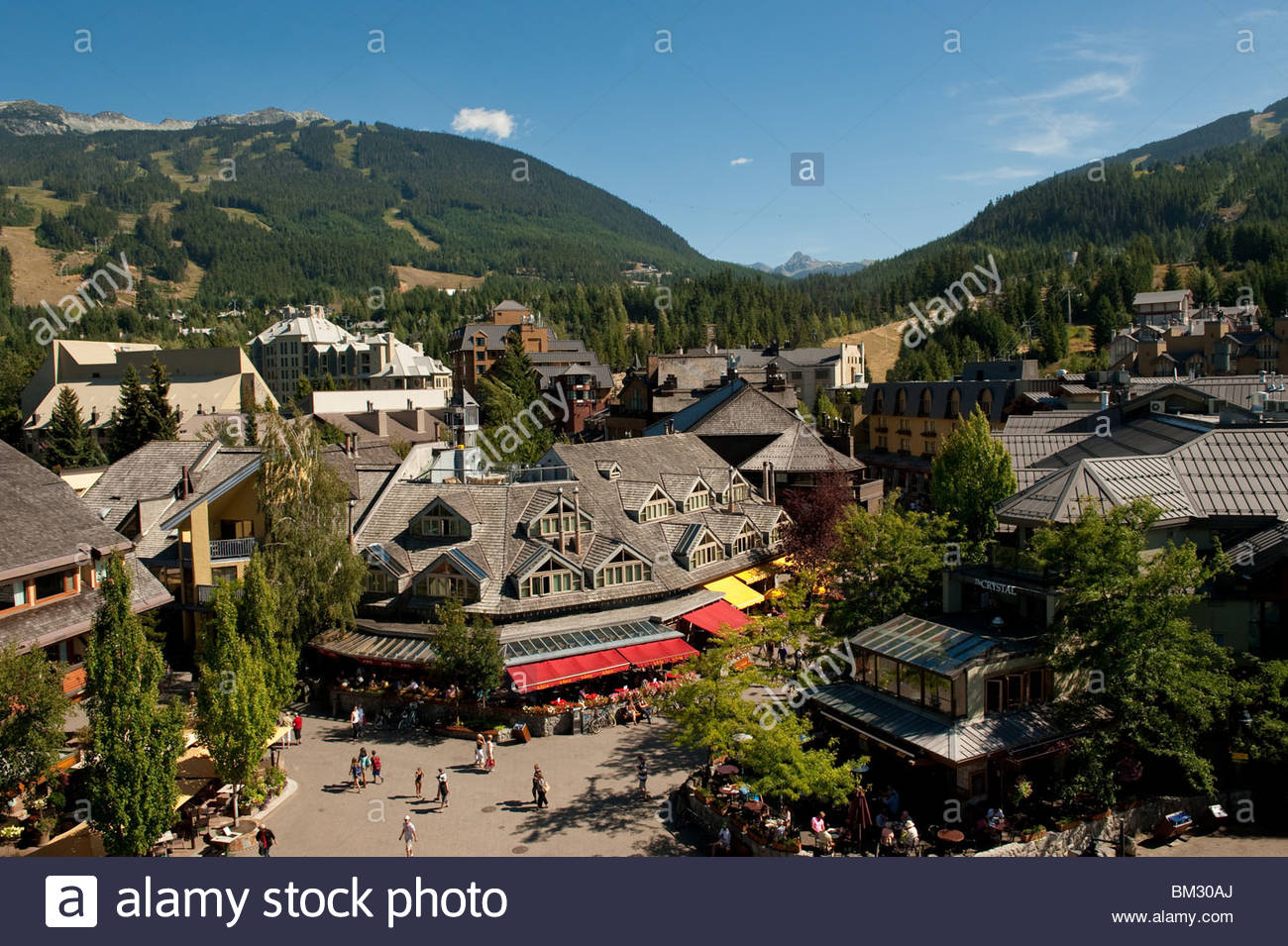 Whistler Village seen from the village square Stock Photo