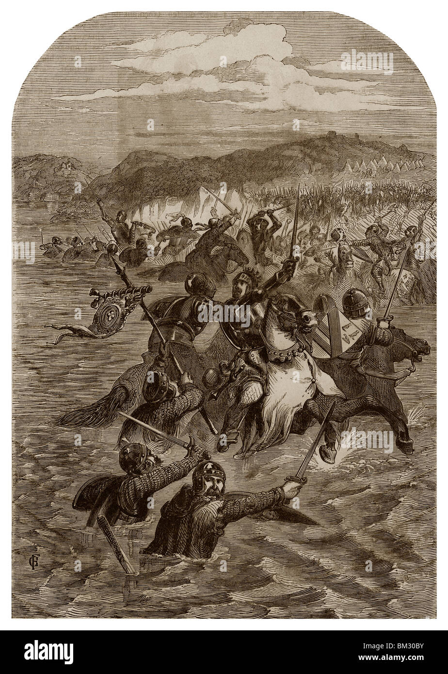On 24th August 1346, Edward III of England forced the passage of Blanchetaque on Somme River. - Stock Image