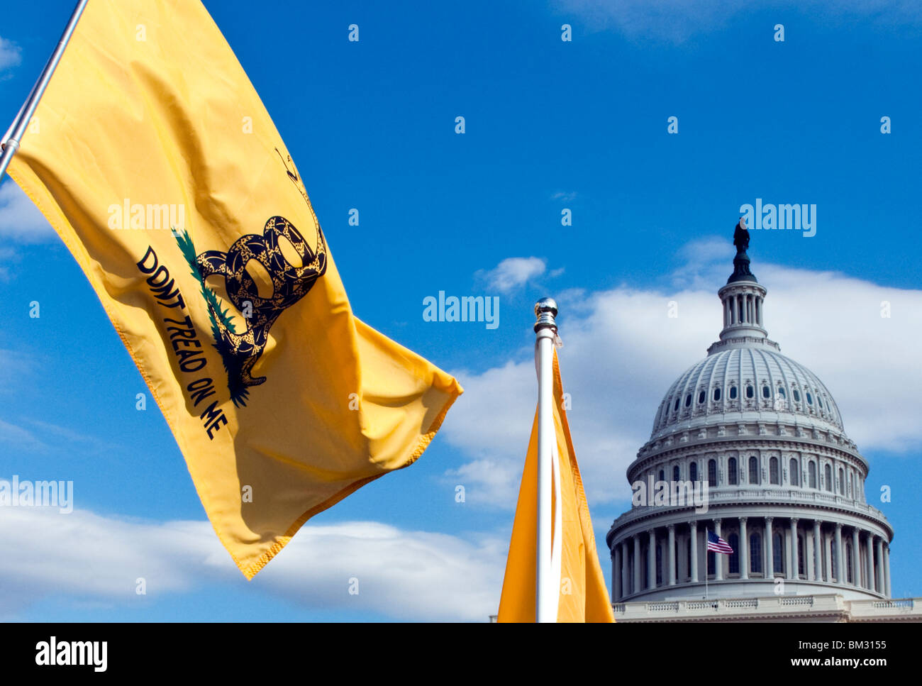 The Gadsden flag  Don't Tread on Me 'Tea Party' flags at the US Capitol Building in Washington DC - Stock Image