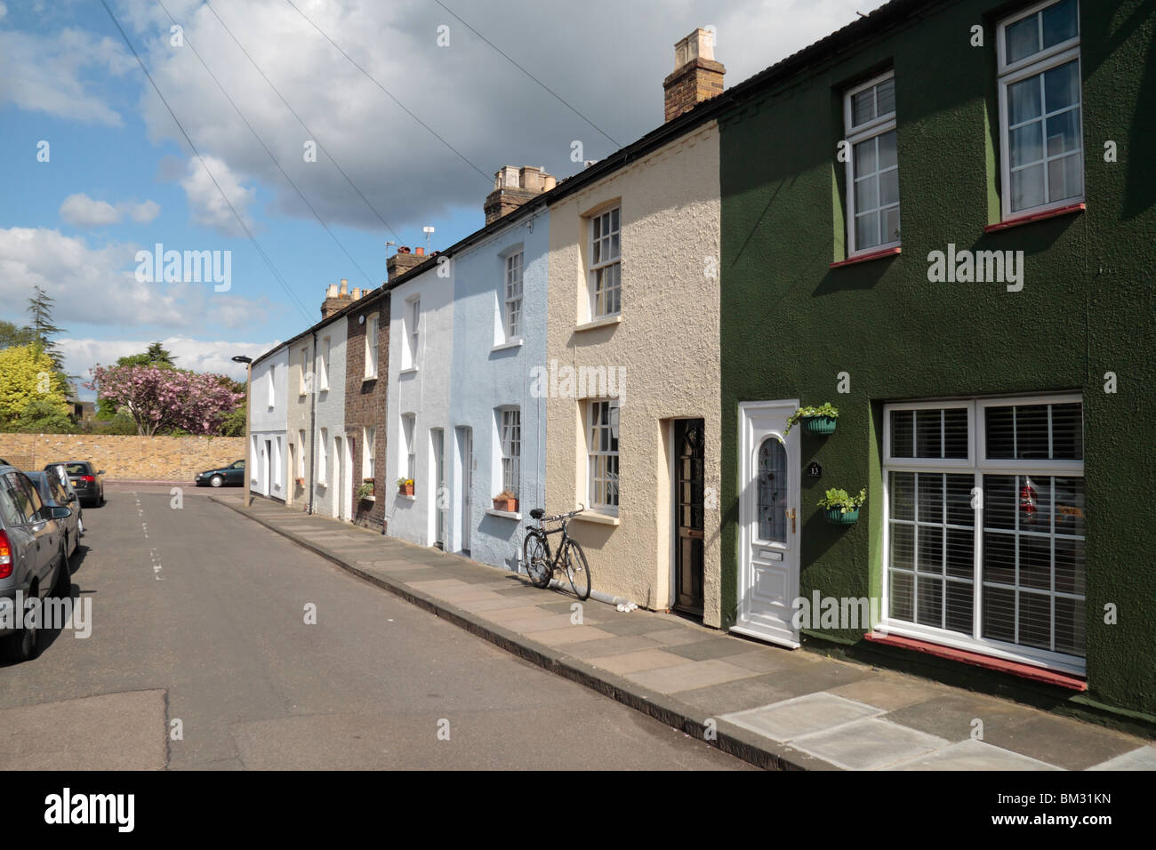 A row of traditional 19th century terraced properties on Denmark Road, Twickenham, Middx, UK. May 2010 - Stock Image