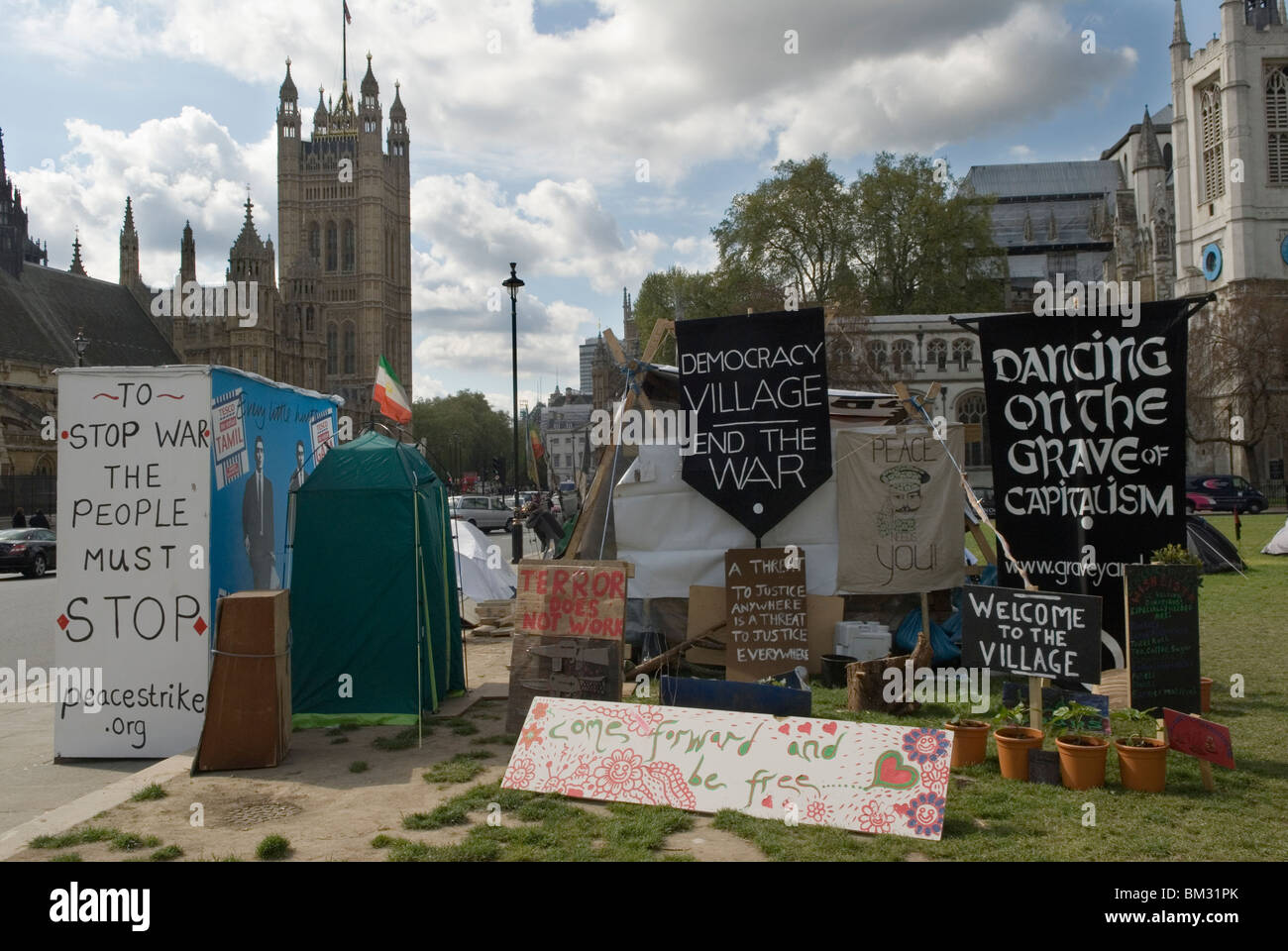 Democracy Village Parliament Square London Uk 2010s HOMER SYKES - Stock Image