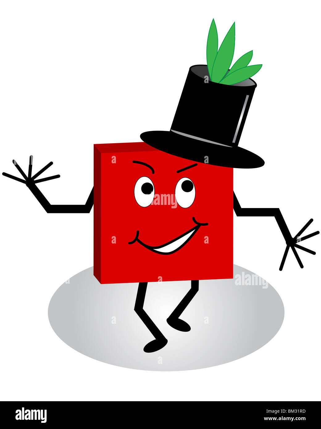 2b14643c2e8 A comical cartoon character with leaves growing out of his top hat - Stock  Image