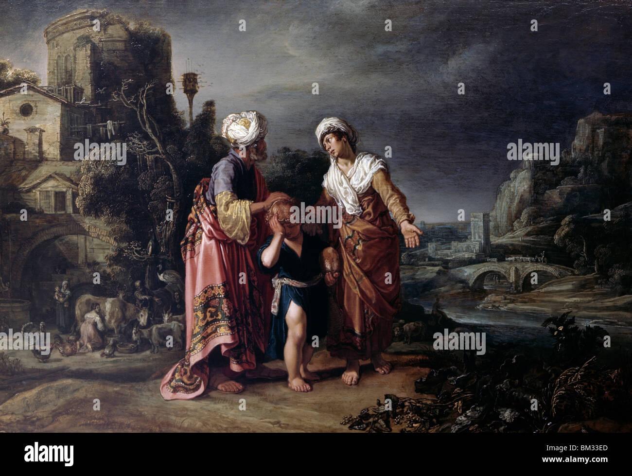 Hagar's Expulsion by Pieter Lastman, (1583-1633) - Stock Image