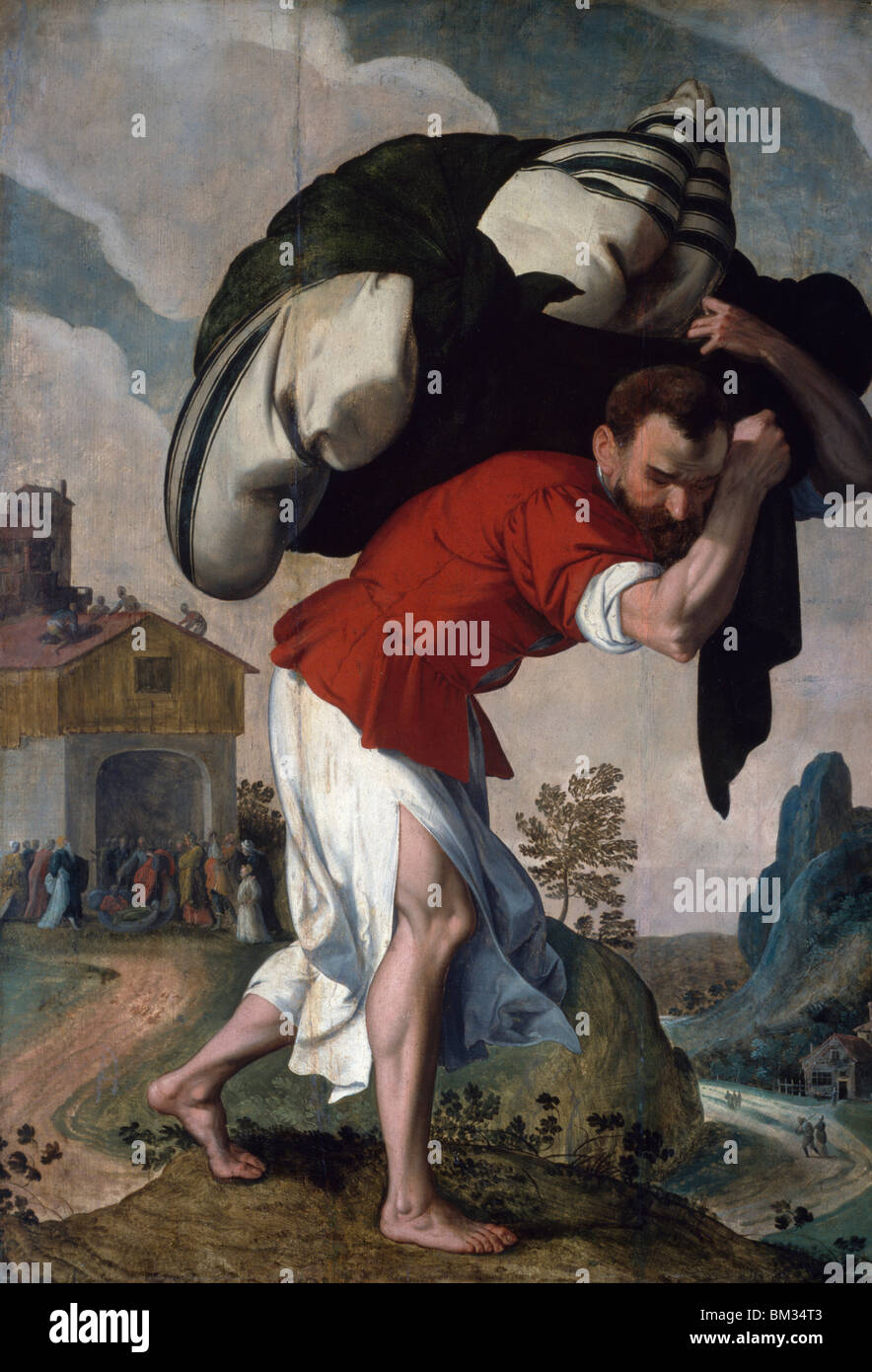 The Healing of the Paralytic, artist unknown, oil on wood panel, (1560-1590), U.S.A., Washington, D.C., National Stock Photo