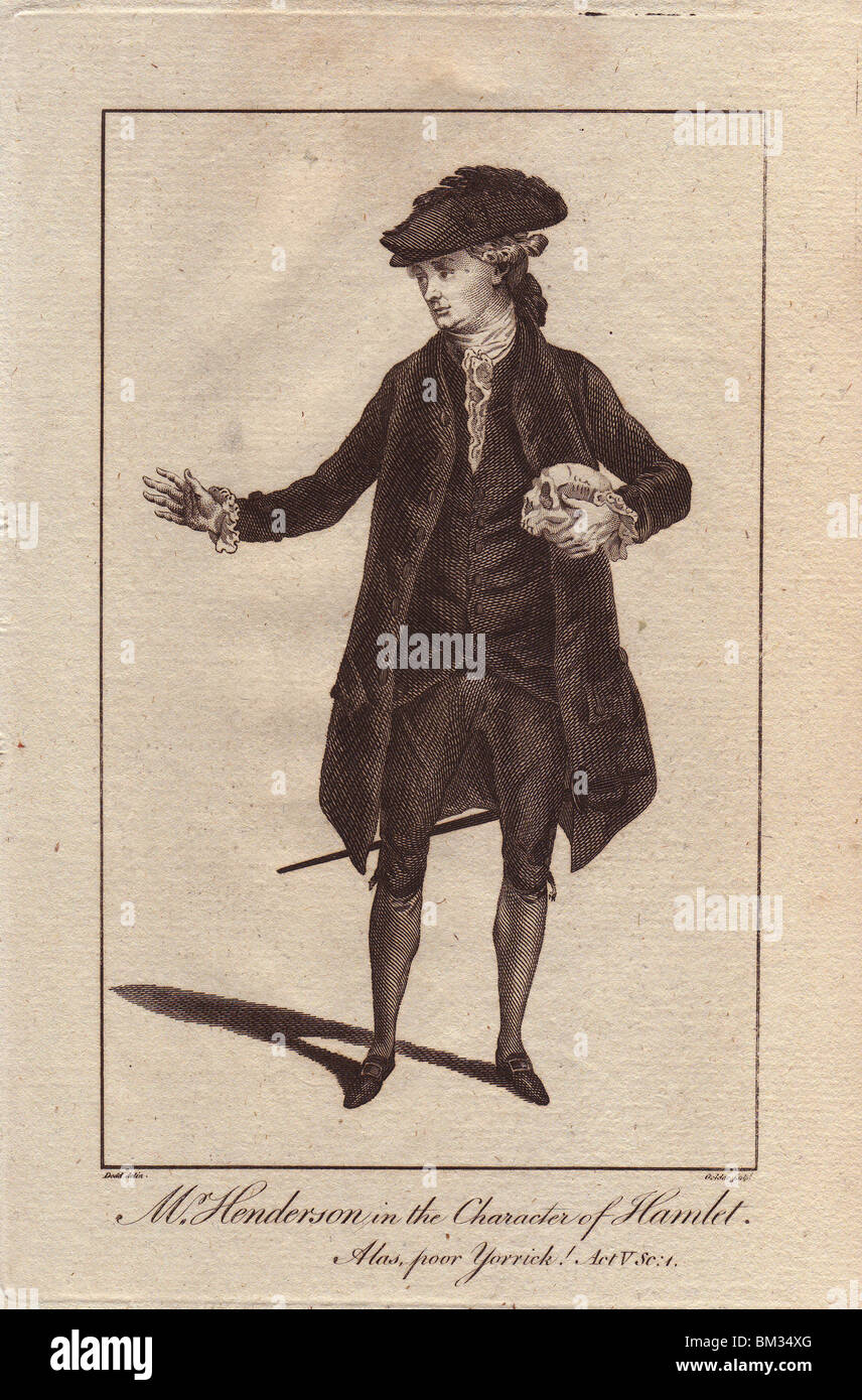 John Henderson as the Danish prince in Hamlet. Copperplate engraving from Bell's Shakespeare, published by John - Stock Image