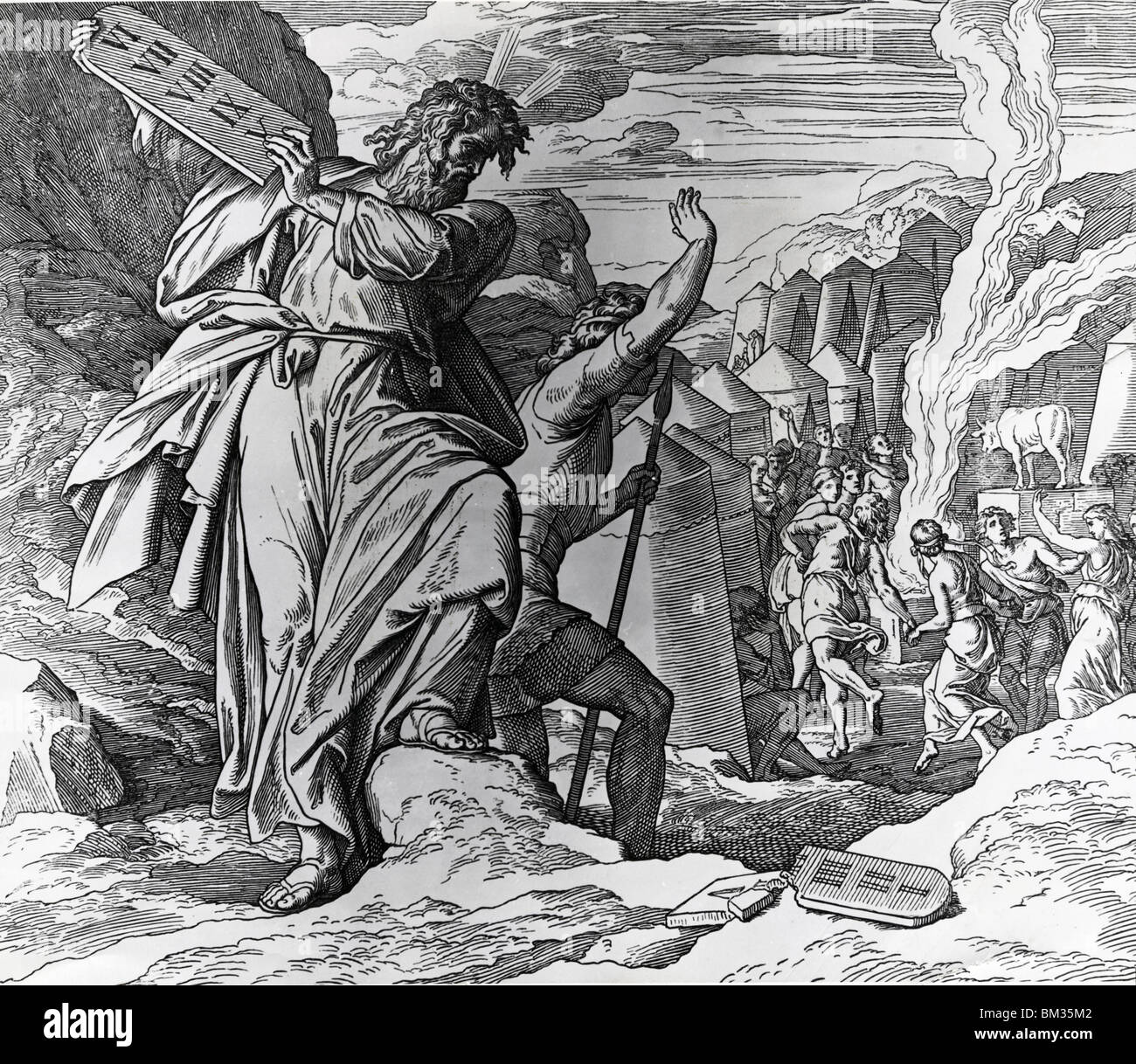 Moses Breaks the Tablets of Law by Julius Schnorr von Carolsfeld, (1794-187) Stock Photo
