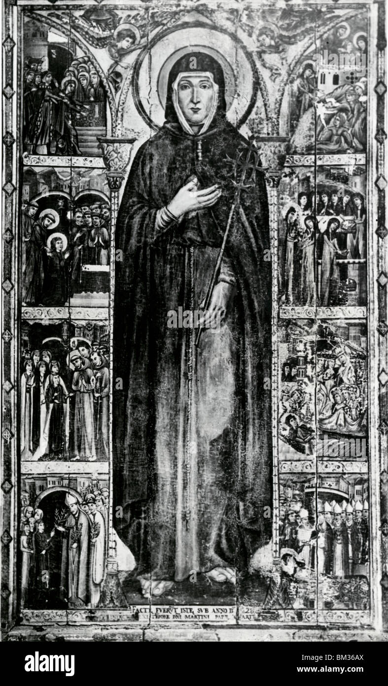 St. Clare and Her Life Story by Cimabue (Cenni Di Pepe), illustration, (1240-1302) - Stock Image