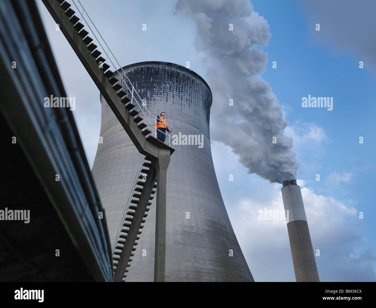 Worker At Coal Fired Power Station - Stock Image