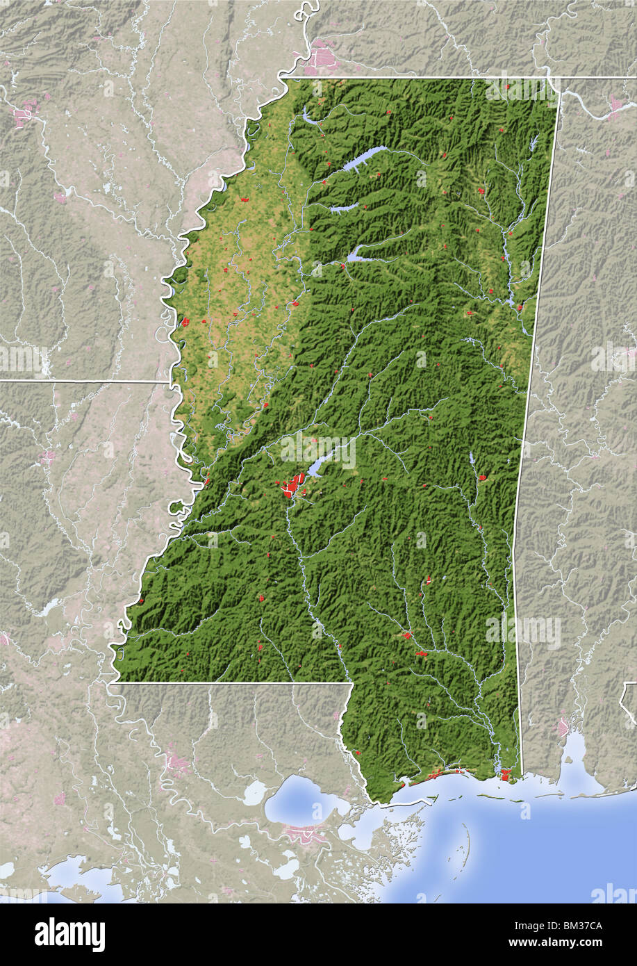 Mississippi Shaded Relief Map Stock Photo Alamy