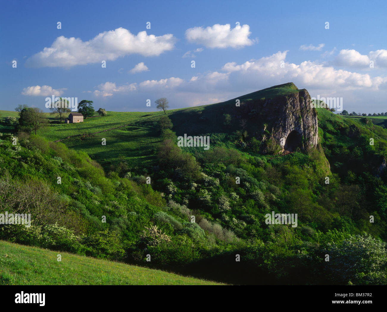 Summer evening view of Thor's Cave in the Manifold Valley, Peak District National Park, Staffordshire. Stock Photo
