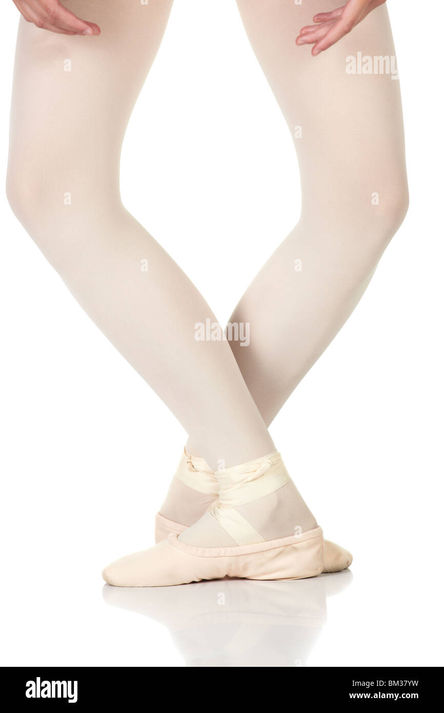 young female ballet dancer showing various classic ballet feet stock