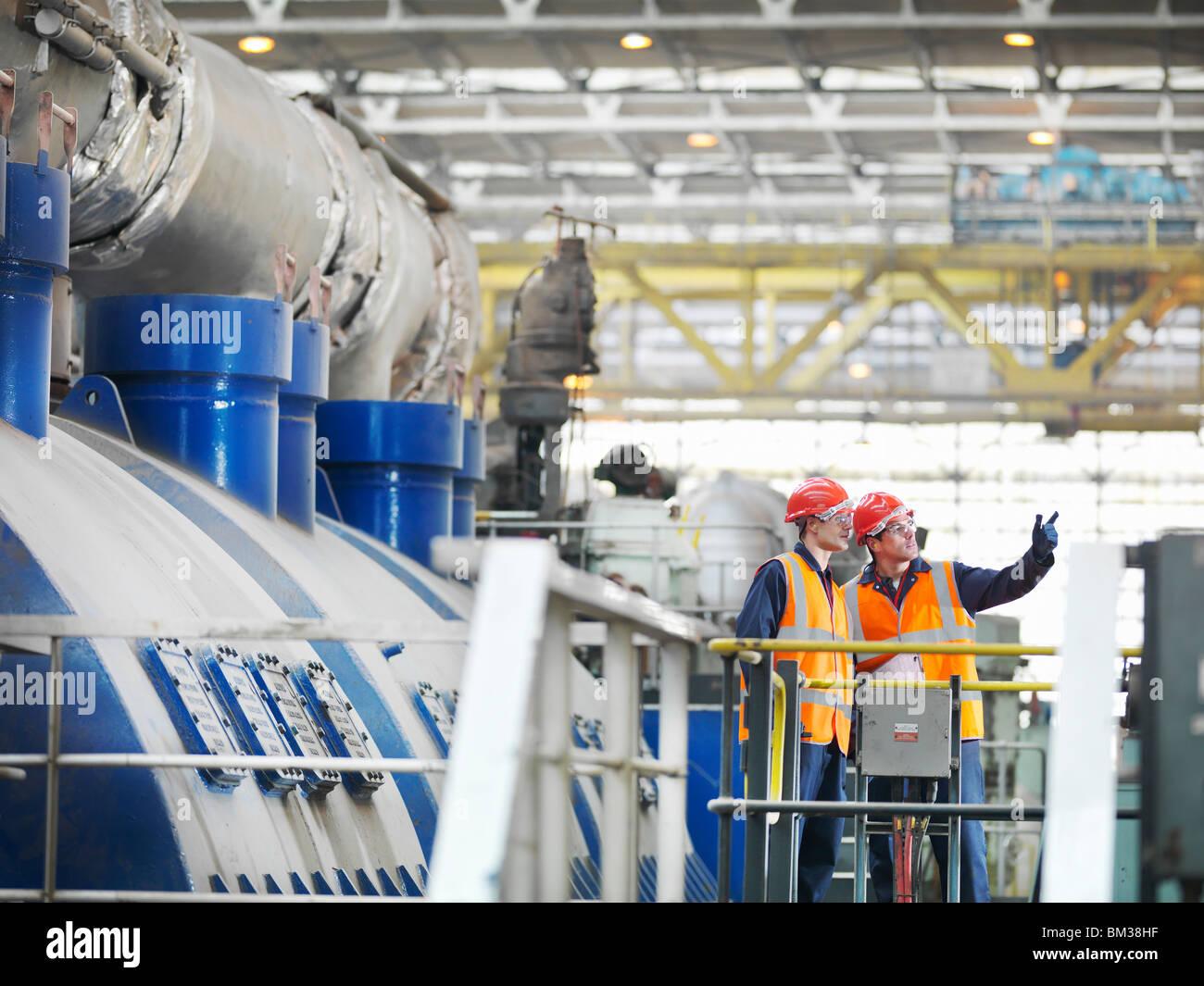 Workers In Coal Fired Power Station - Stock Image