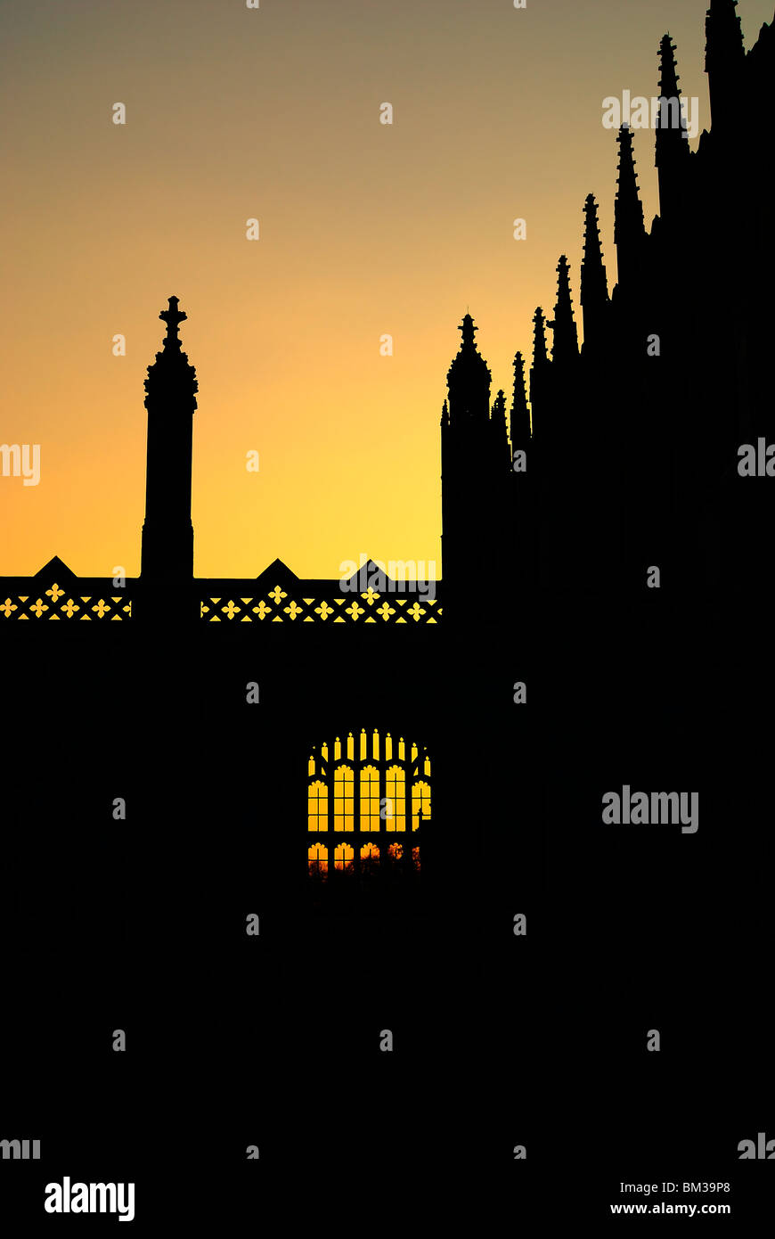 Kings College Cambridge University Silhouette - Stock Image