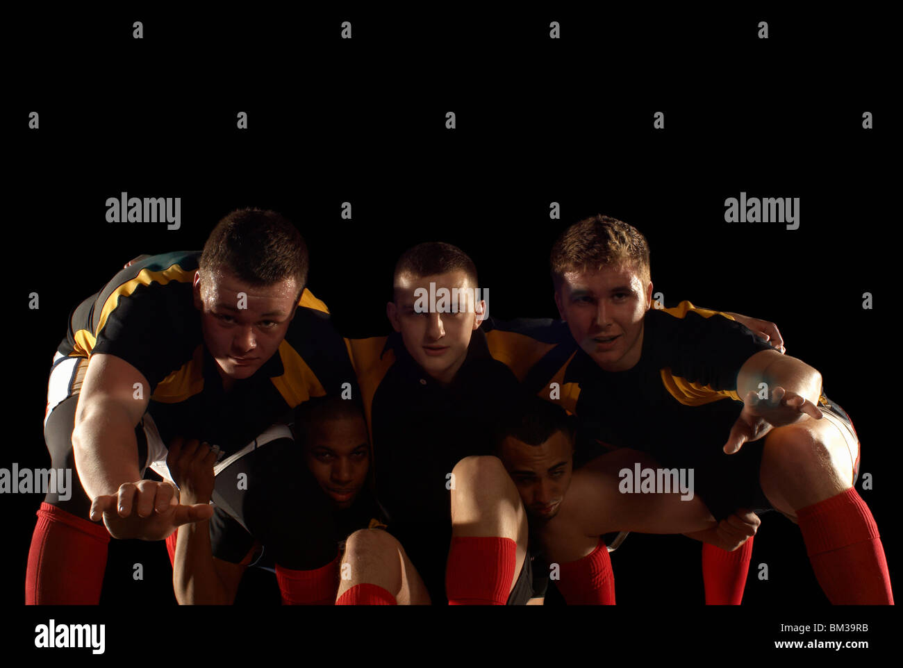 Rugby Players In Scrum Formation Stock Photo Alamy
