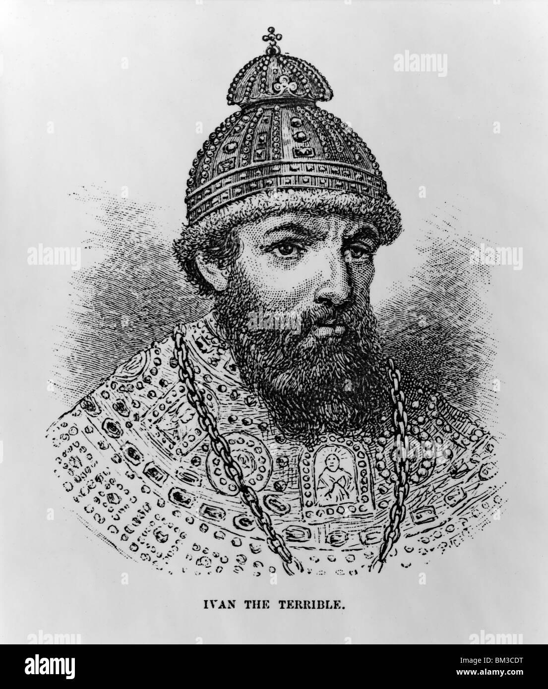 Ivan the Terrible (1530-1584) - Ivan IV, Czar of Russia, head-and-shoulders portrait - Stock Image