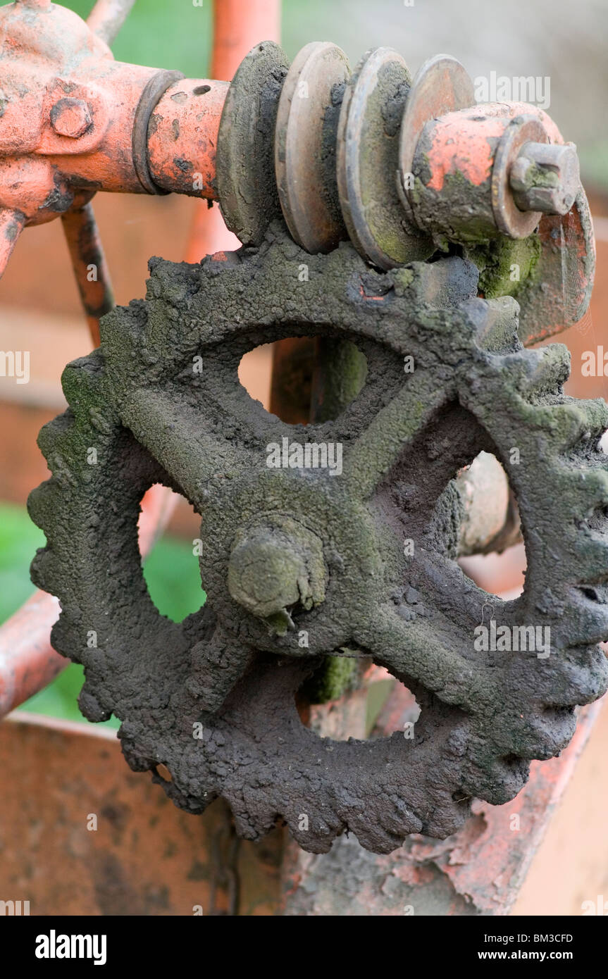 worm and spur gear gear cog cogs mechanical engineering engineer engineered tooth teeth mesh meshed meshing cast - Stock Image