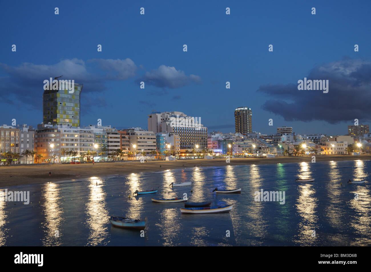 Las Palmas de Gran Canaria at night, Grand Canary Spain - Stock Image