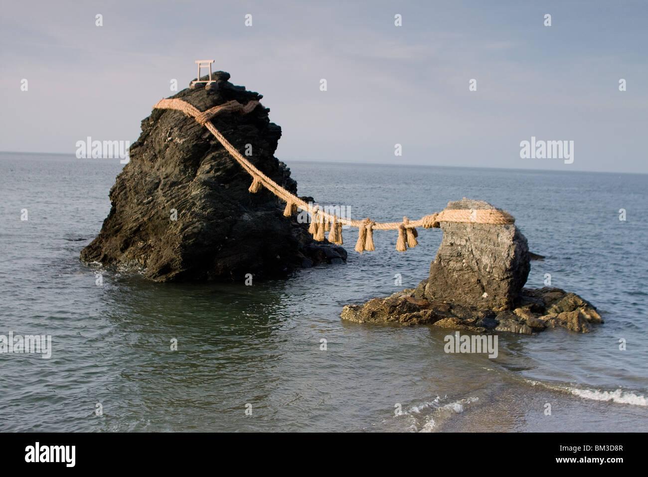 Meoto Iwa, the wedded rocks in Futami, Japan - Stock Image