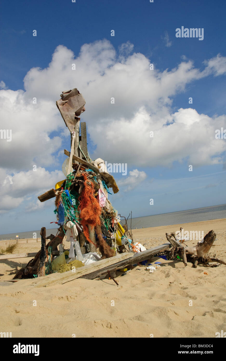 Sculpture made of flotsam and jetsam on Winterton beach,Norfolk,UK - Stock Image
