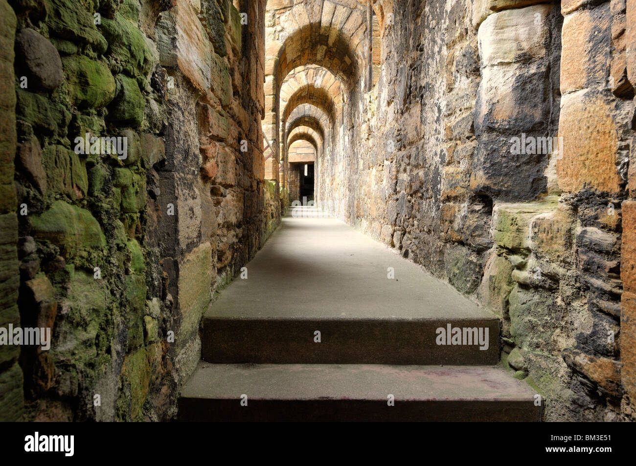 Arched passageway in Linlithgow Palace outside of Edinburgh, Scotland Stock Photo