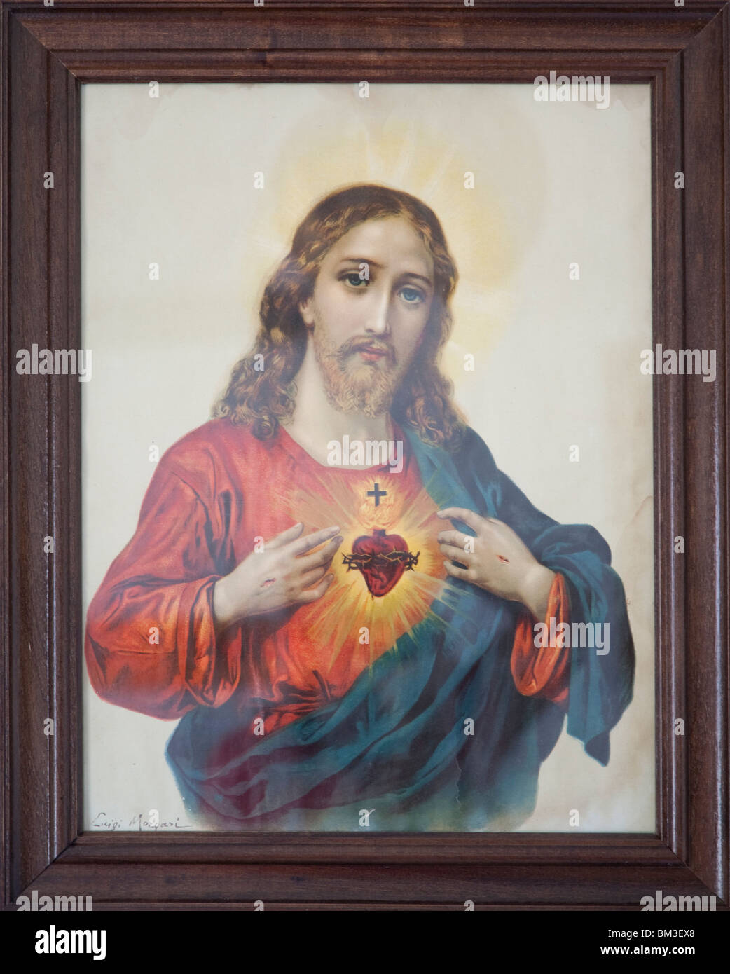 Frame with a draw of the Sacred Heart of Jesus, town of Castaño del Robledo, province of Huelva, Andalusia, - Stock Image
