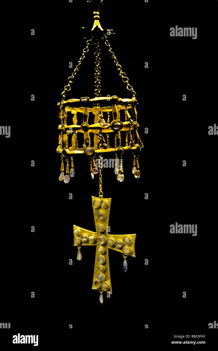 The Treasure of Guarrazar crowns gold crosses offered to the Roman Catholic Church by the Kings of the Visigoths - Stock Image