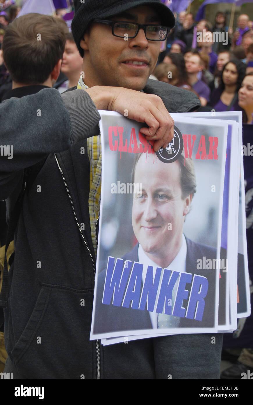 David Cameron Prime Minister Take Back Parliament Protest Westminster General Election 2010 - Stock Image