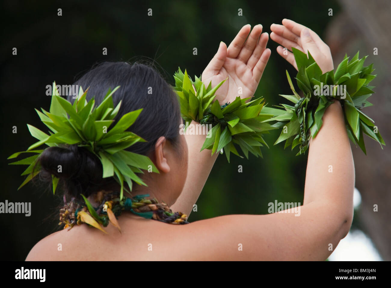 Hawaiian hula dancer performing on Hawaii Island. - Stock Image