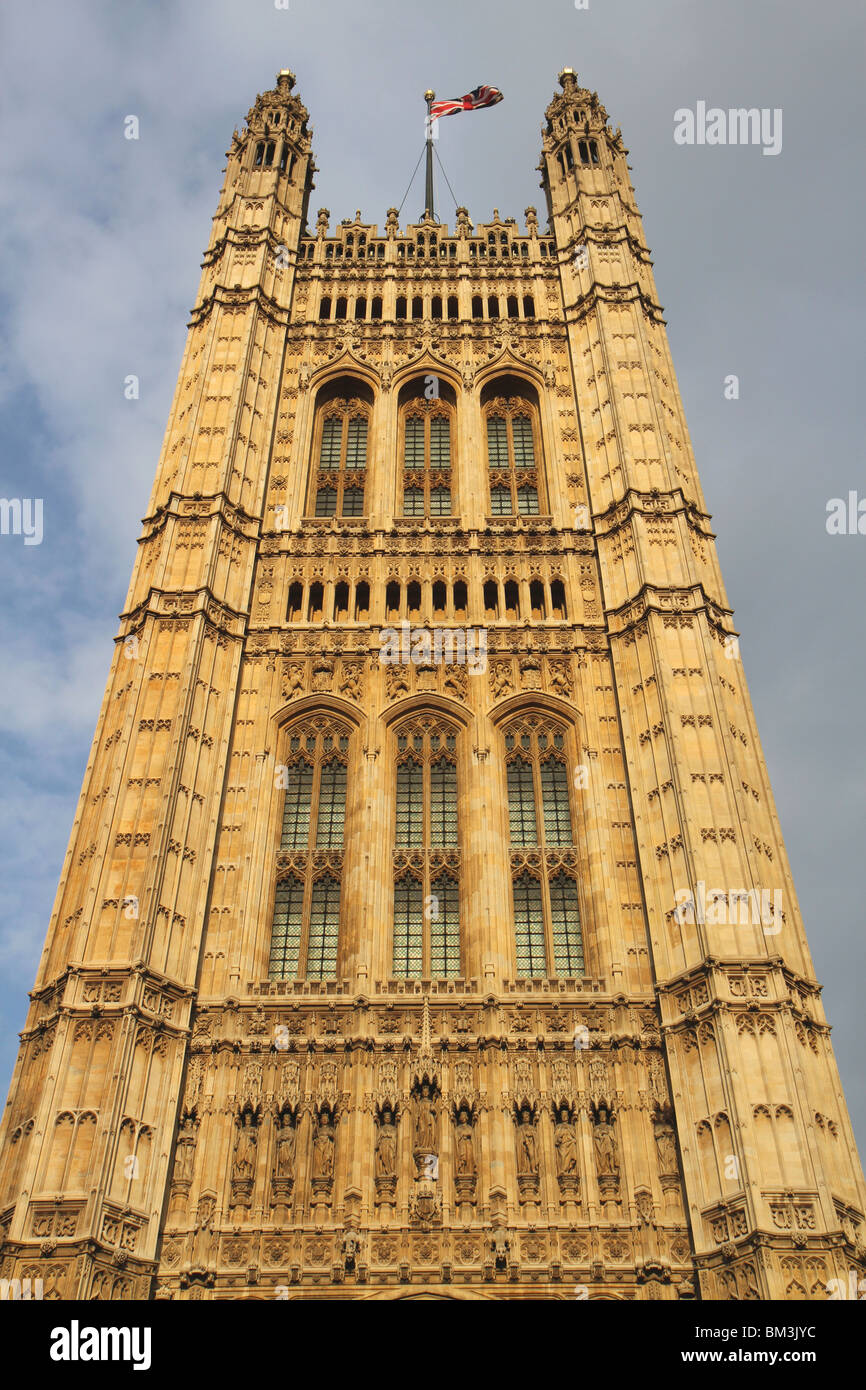 Close up of the Palace of Westminster showing Victoria Tower - Stock Image