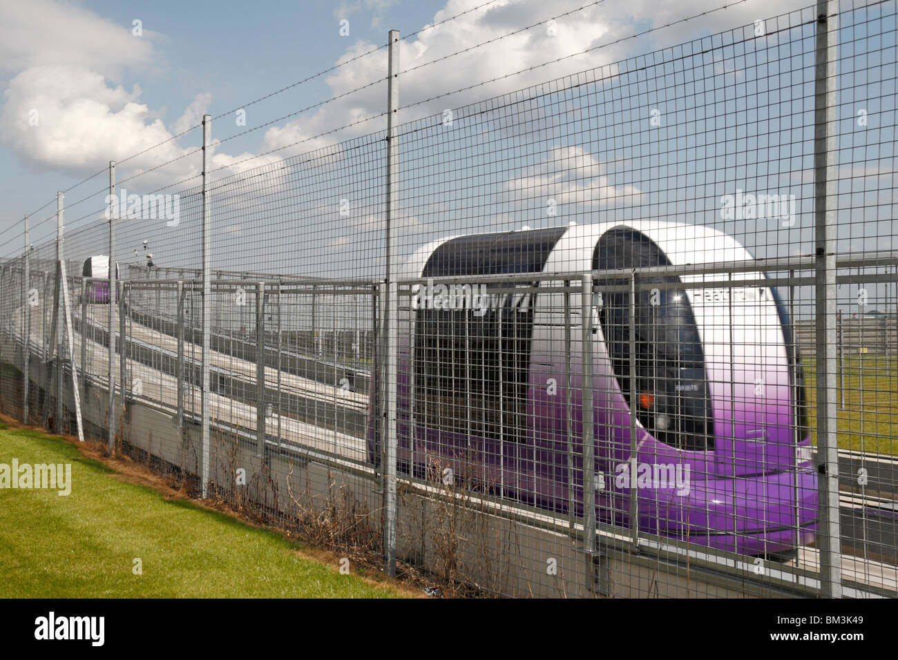 A Personal Rapid Transport (PRT) pod during testing at Heathrow Airport, London, UK. May 2010 - Stock Image