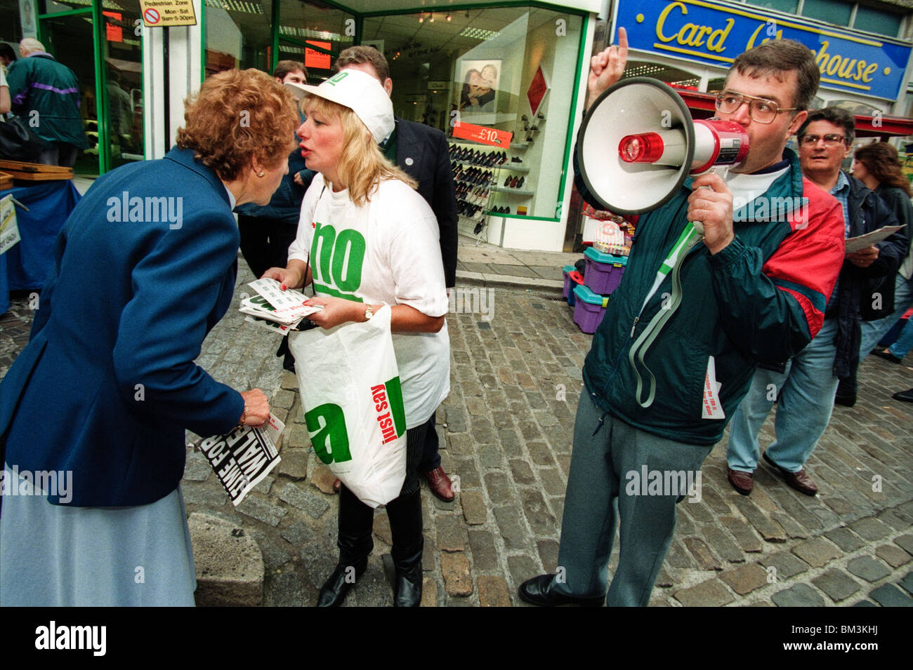 JUST SAY NO campaigners leafleting in Pontypridd for their 1997 Referendum NO campaign against a National Assembly - Stock Image
