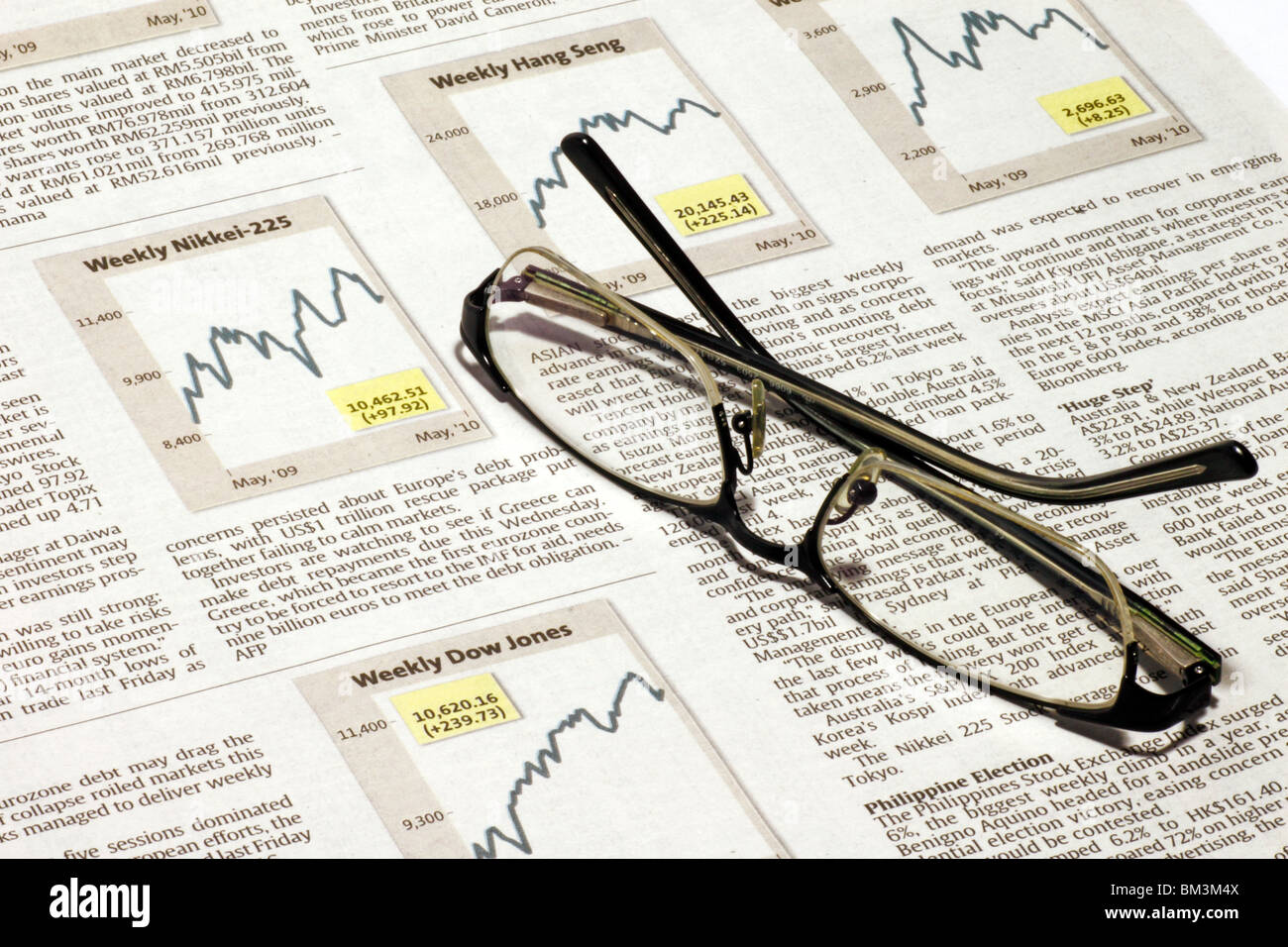 An image of a spectacle on a stock market sheet showing the Nikkei, Hang Seng & Dow Jones index  graph. - Stock Image