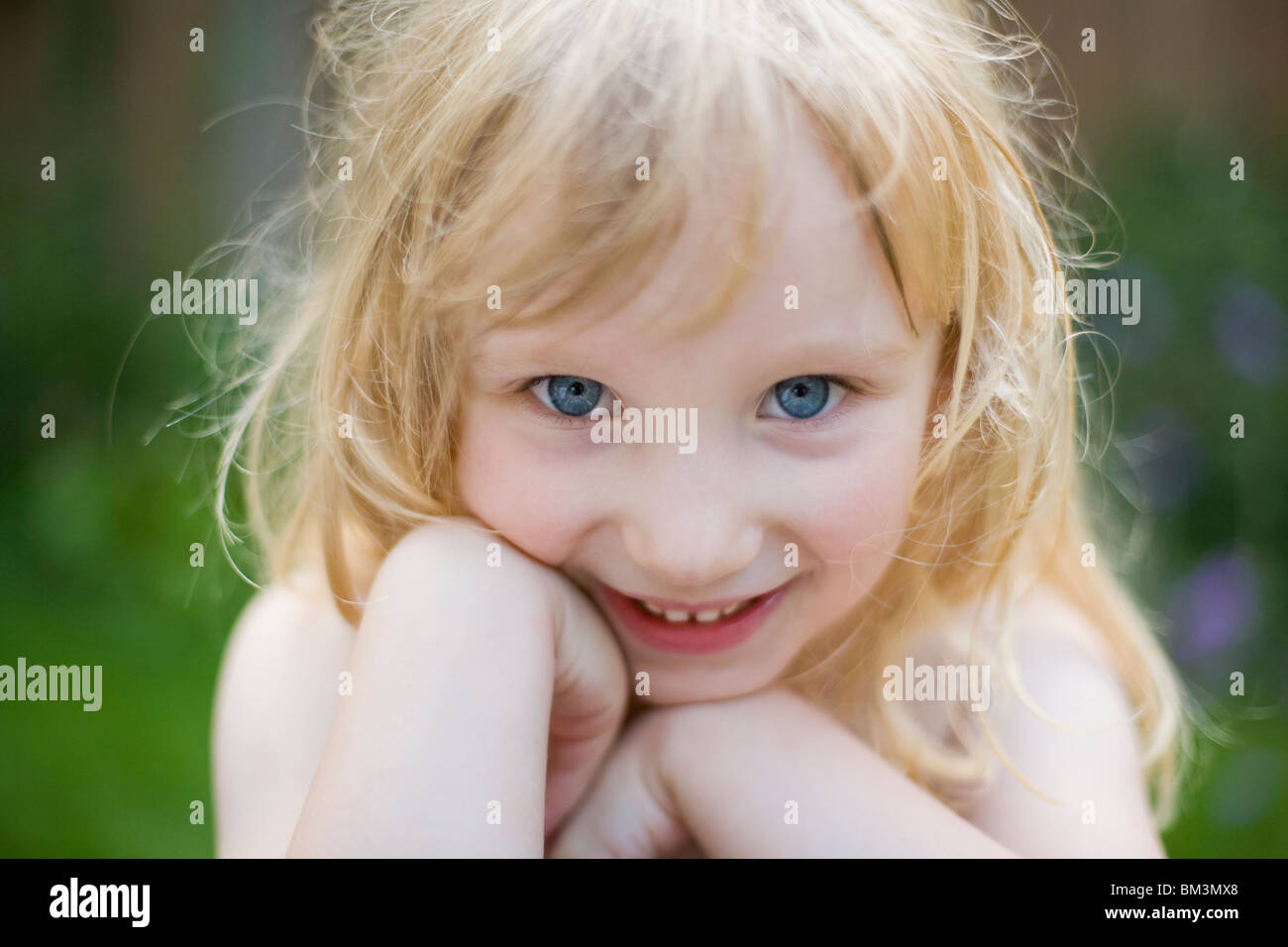 portrait of happy 4 year old girl - Stock Image