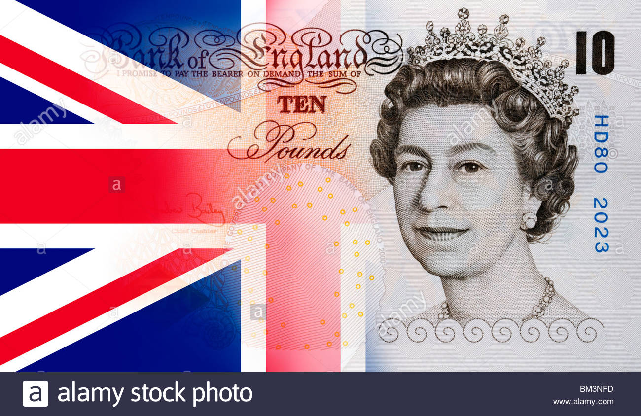 Ten pound note merged together with a Union Jack flag, England, UK - Stock Image