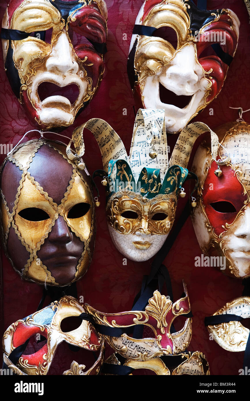 Venice - Traditional Venetian carnival face masks - Stock Image