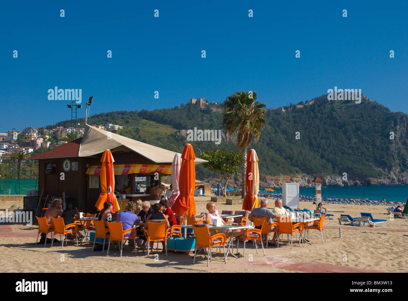 Cafe bar Cleopatra beach Alanya Mediterranian coast Anatolia region Turkey Asia - Stock Image