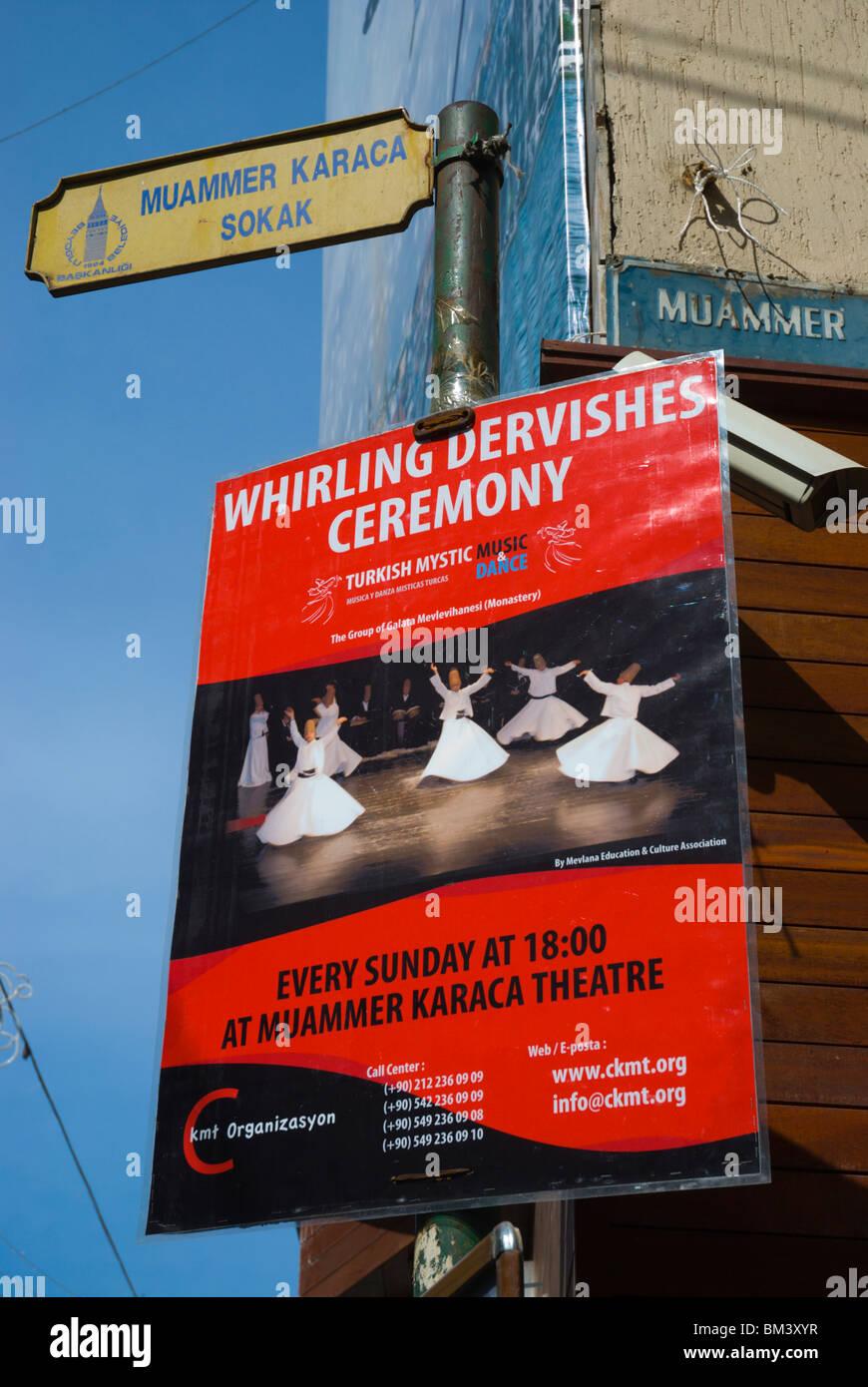 Sign advertising Whirling Dervishes show Beyoglu Istanbul Turkey Europe Stock Photo