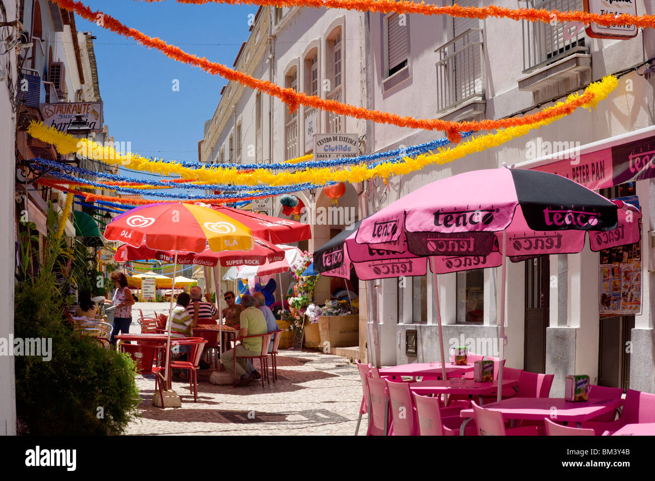 Portugal, The Algarve, Street Cafés In Silves Stock Photo