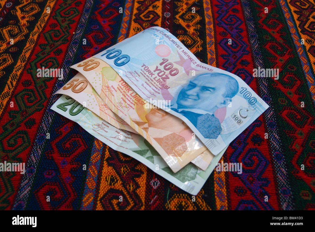 Turkish lira notes money Turkey Stock Photo