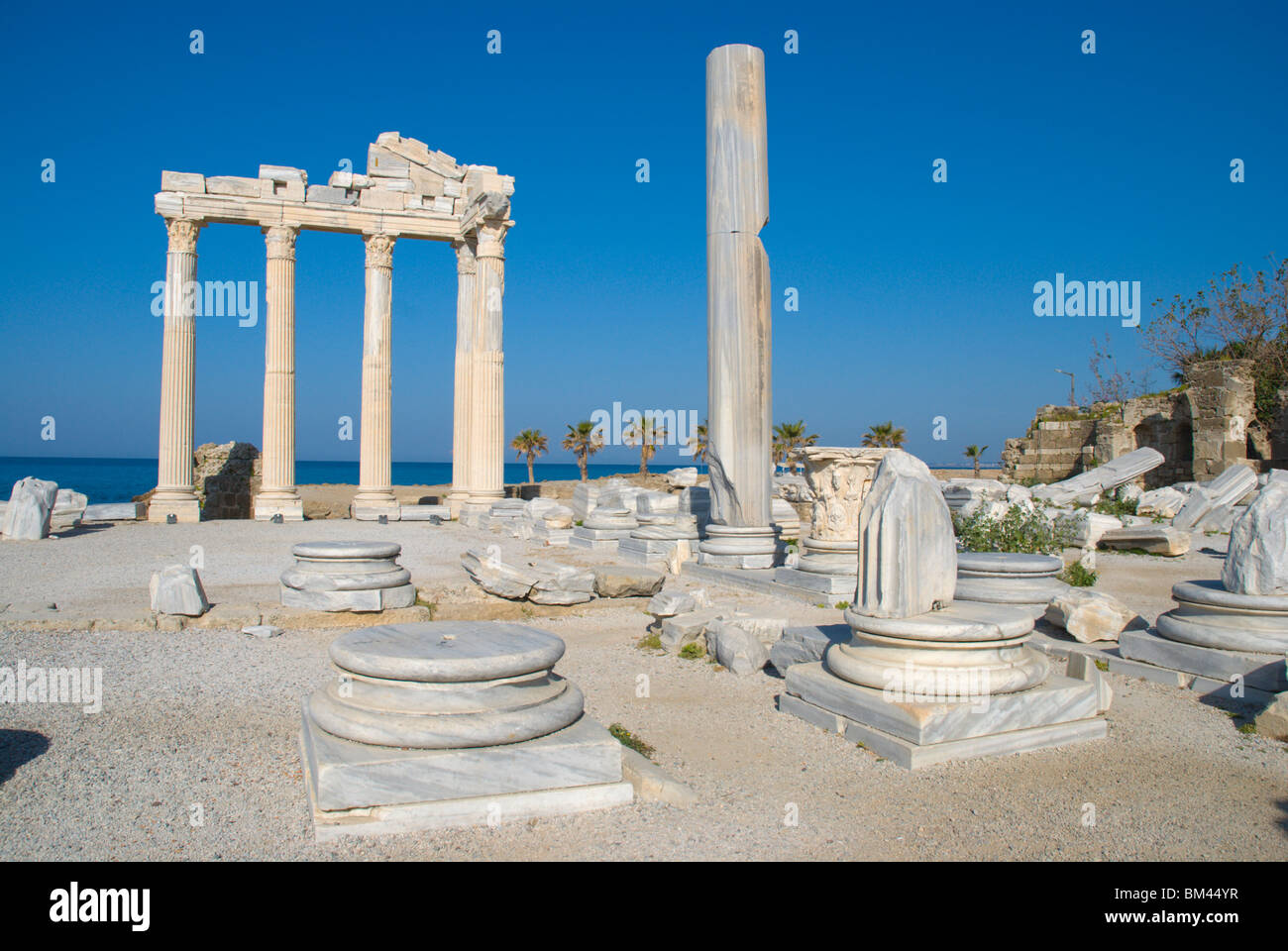 Temples of Apollo and Athena area Side Mediterranian coast Anatolia region Turkey Asia - Stock Image