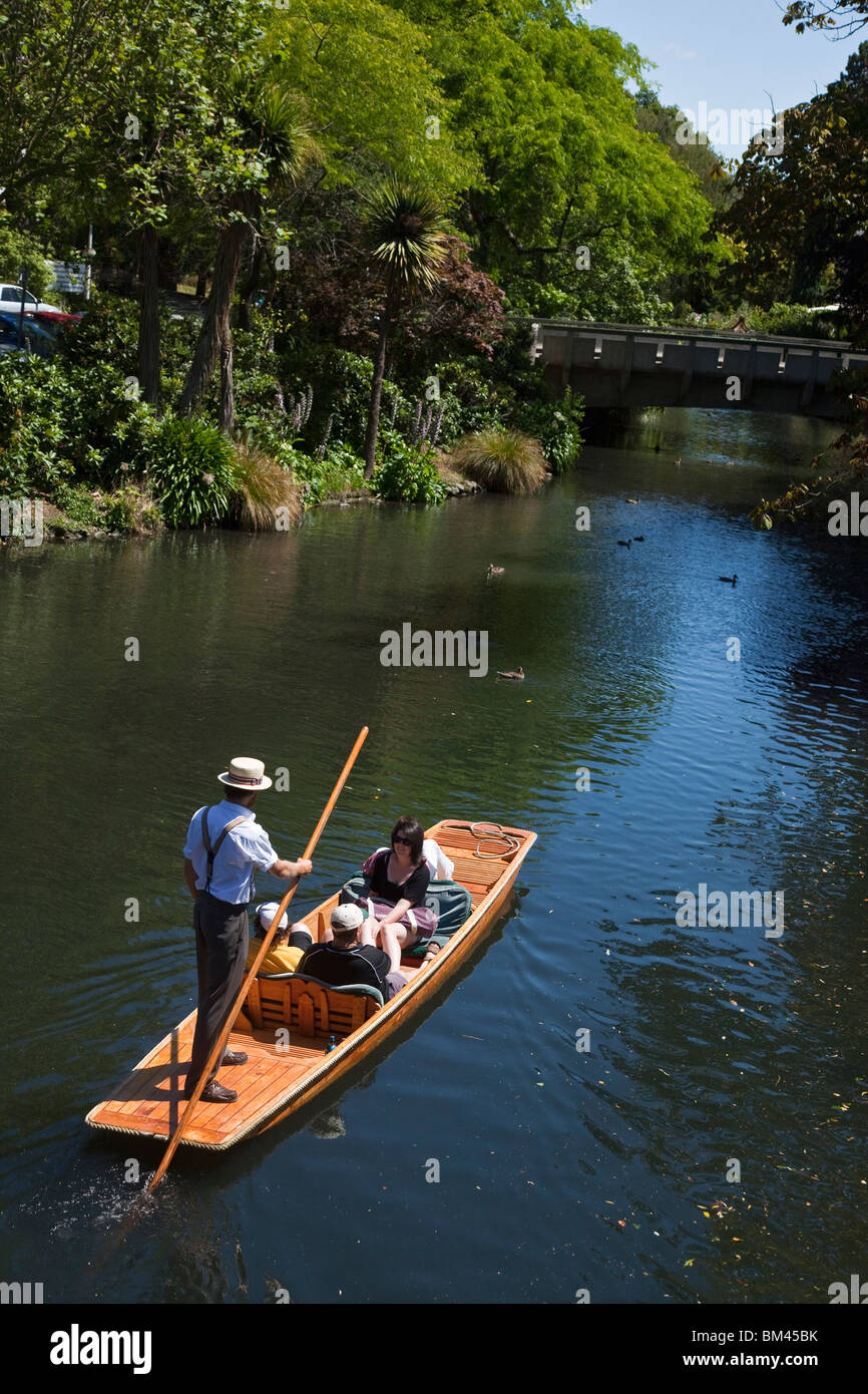 Punting on the Avon River, Christchurch, Canterbury, South Island, New Zealand - Stock Image
